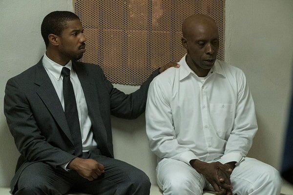 MICHAEL B. JORDAN as Bryan Stevenson and ROB MORGAN as Herbert Richardson in Warner Bros. Pictures' drama JUST MERCY.