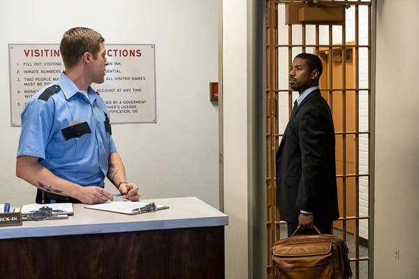 (L-r) HAYES MERCURE as Jeremy Doss and MICHAEL B. JORDAN as Bryan Stevenson in Warner Bros. Pictures' drama JUST MERCY.