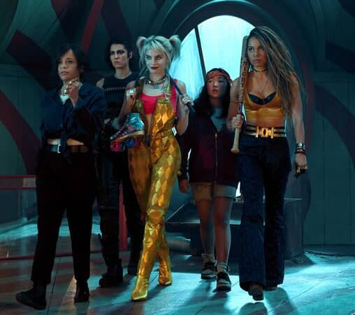 """ROSIE PEREZ as Renee Montoya, MARY ELIZABETH WINSTEAD as Huntress, MARGOT ROBBIE as Harley Quinn, ELLA JAY BASCO as Cassandra Cain and JURNEE SMOLLETT-BELL as Black Canary in Warner Bros. Pictures' """"BIRDS OF PREY (AND THE FANTABULOUS EMANCIPATION OF ONE HARLEY QUINN)."""""""